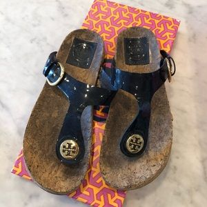 Sandals. Tory Burch navy with gold  logo
